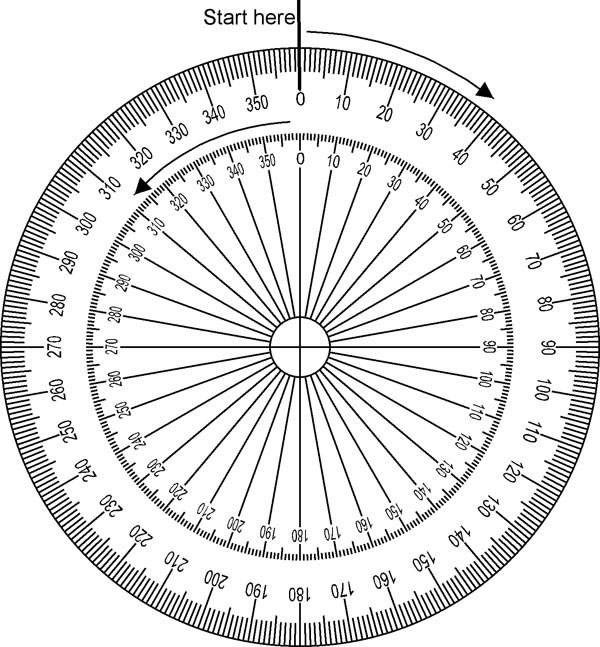 170 degrees on protractor full circle images for Circular protractor template